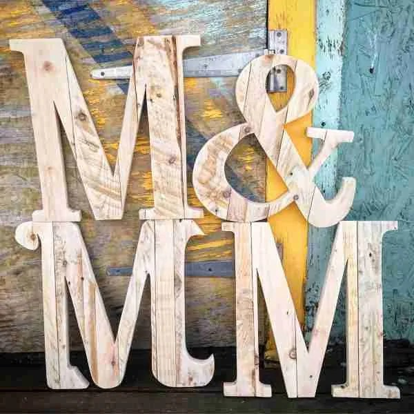 Wedding guest book wooden letters