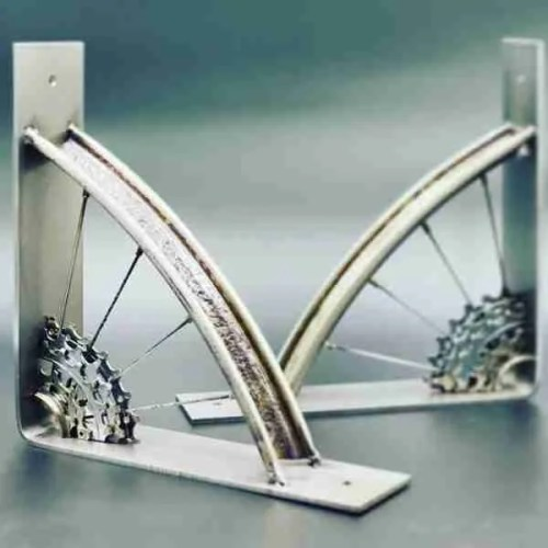 shelf brackets made from salvaged bicycles
