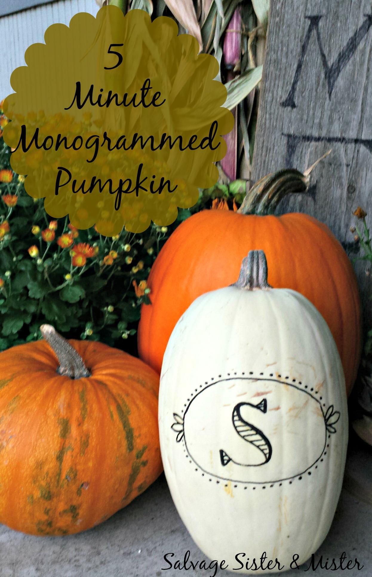 five minute monogramed pumpkin
