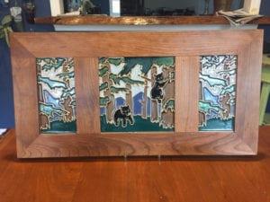 handmade tile bear framed