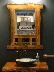 wood and tile mirror handmade