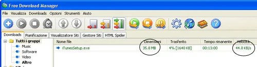 UMTS di TIM e Free Download Manager