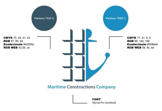 Logo Maritime Constructions Company. Colori e lettering