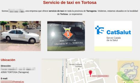 Exemple d'anunci d'un taxi amb serveis per al CatSalut