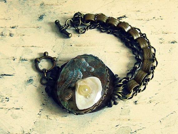 seahorse and seashell bracelet