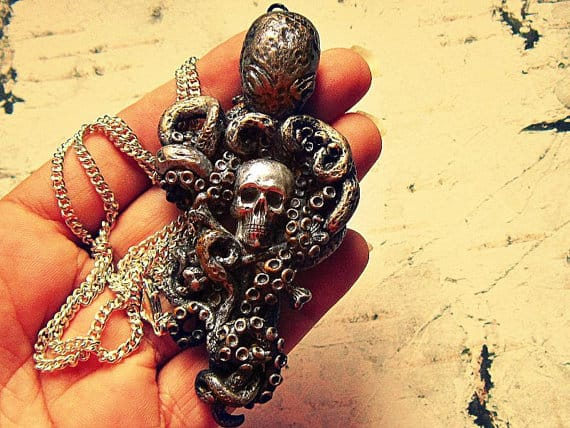 octopus jewelry skull necklace