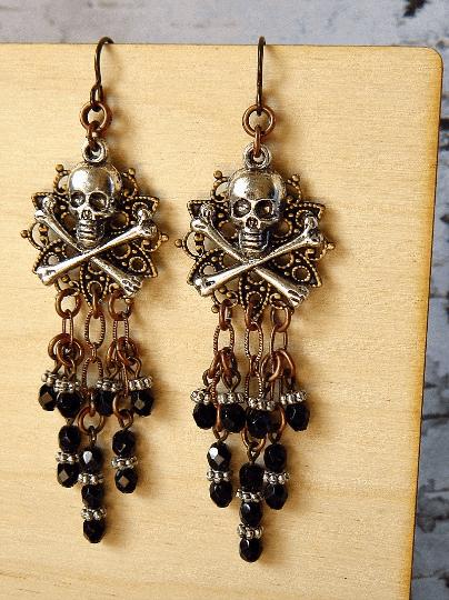 black silver copper pirate skull earrings