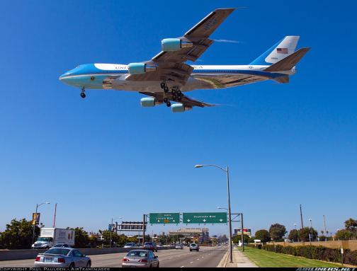 Air Force One landing at LAX