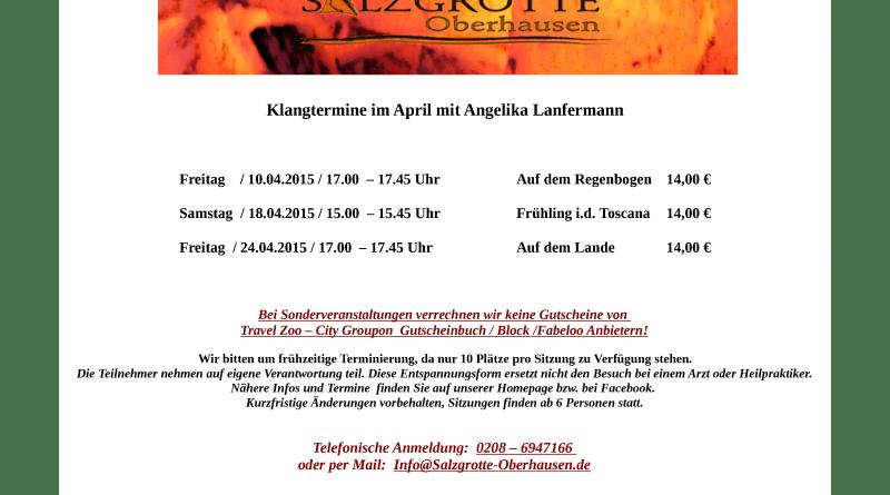 Klangtermine April 2015 - Salzgrotte Oberhausen