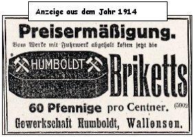 Zeitungsanzeige von 1914