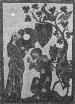 """Der """"Schenk vom Limburg"""", eine Rittergestalt aus der Manessischen Handschrift in einer Haltung, die der Figur auf dem Pilgerstein ähnelt."""