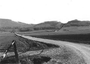 Linienführung der Kalkbahn zum Thüster Berg. (Foto: Heise, 1973)
