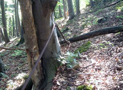 Das alte Seil einer Bremsbahn als Absperrung. (Foto: Kölle, August 2005)