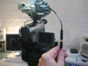 Zoom H4n on a video camera