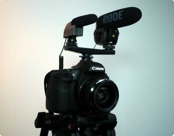 Canon DSLR with Rode and Sennheiser on-camera mics