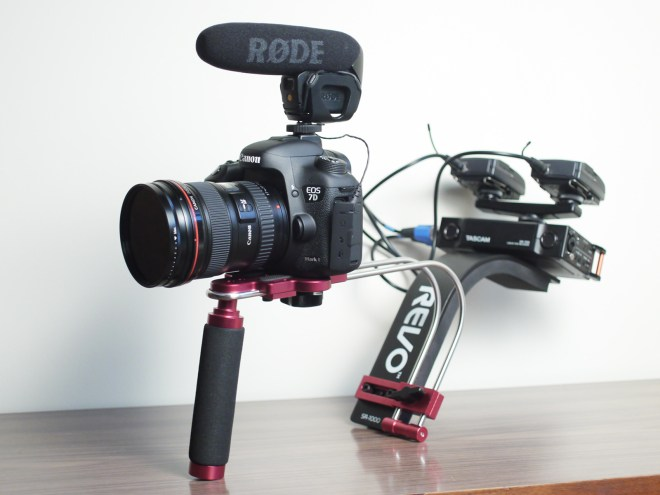 Tascam DR-70D on camera rig