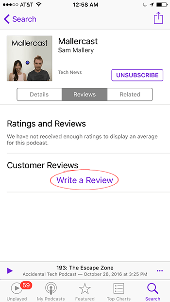 Apple Podcasts app Write a Review screen