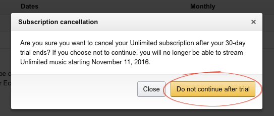How to cancel Amazon Music Unlimited step 2