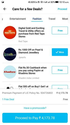 Lic Online Payment Paytm Promo Code 6