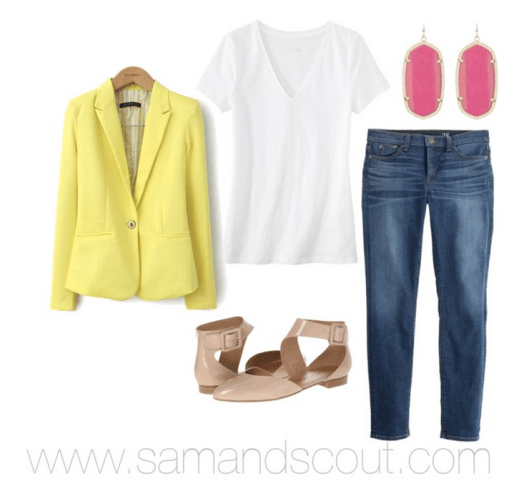 White tee with jeans, a colorful blazer, nude flats, and fun earrings