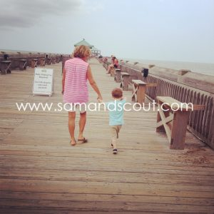 Walking the pier at Folly Beach with Gig'.