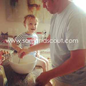 Making pancakes with Uncle DeWayne.  Can you tell he adores him?