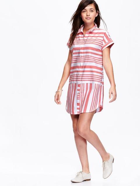 Old Navy Striped Oxford Shirt Dress
