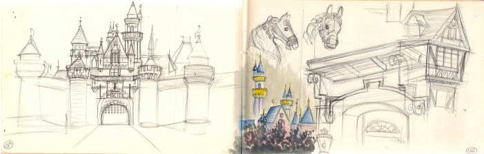 drawing of Sleeping Beauty's Castle in Disneyland