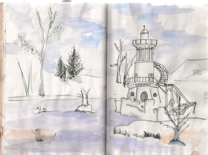 sketch of Hammeau behind Versailles