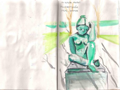 watercolor sketch of a bronze stature of a woman