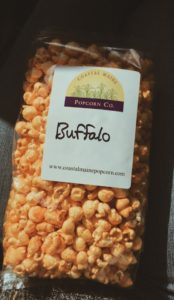Bag of buffalo wing flavored popcorn from Coastal Maine Popcorn Company in Portland