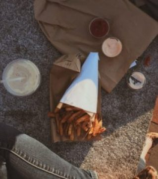 Fries and milkshake from Duck Fat in Portland, ME