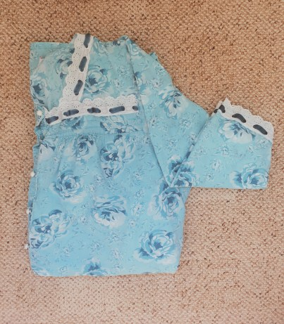 Blue floral night gown with lace and ribbon