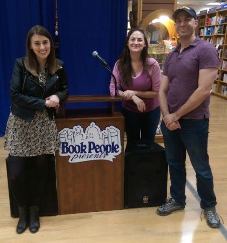 Authors Farrah Penn and Don Zolidis with me at BookPeople.
