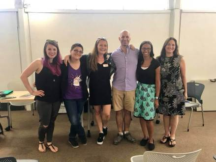 Our author panel at Mid City Library New Orleans with (l. to r.) Kim Chance, M.K. England, Taryn Bashford, Don Zolidis, Tiffany Brownlee and me.
