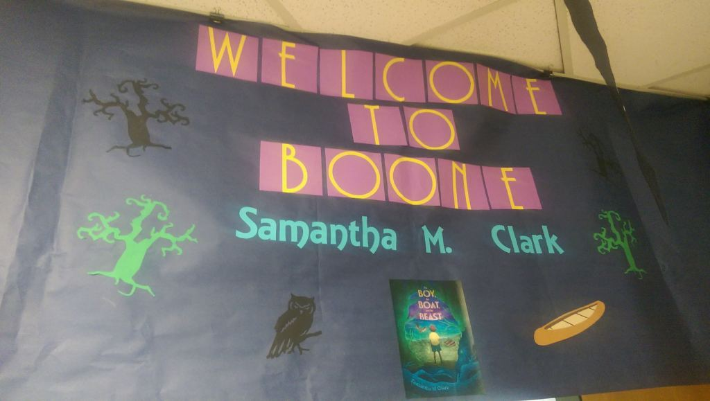 The wonderful poster Boone Elementary made for Samantha M Clark's visit.