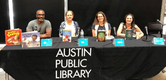Austin Central Library Kids Block Party panel with Don Tate, Emma Virjan, Jessica Lee Anderson and me!