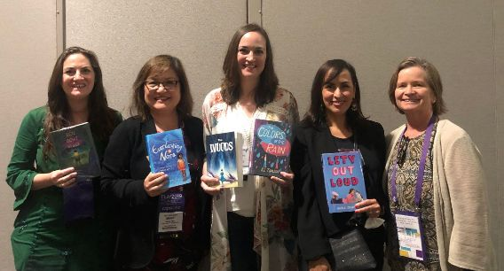 TLA 2019 Tough Issues - Big Impact panelists with (l. to r.) me, authors Marie Miranda Cruz, R.L. Toalson, Angela Cervantes and librarian moderator Kim Miller.