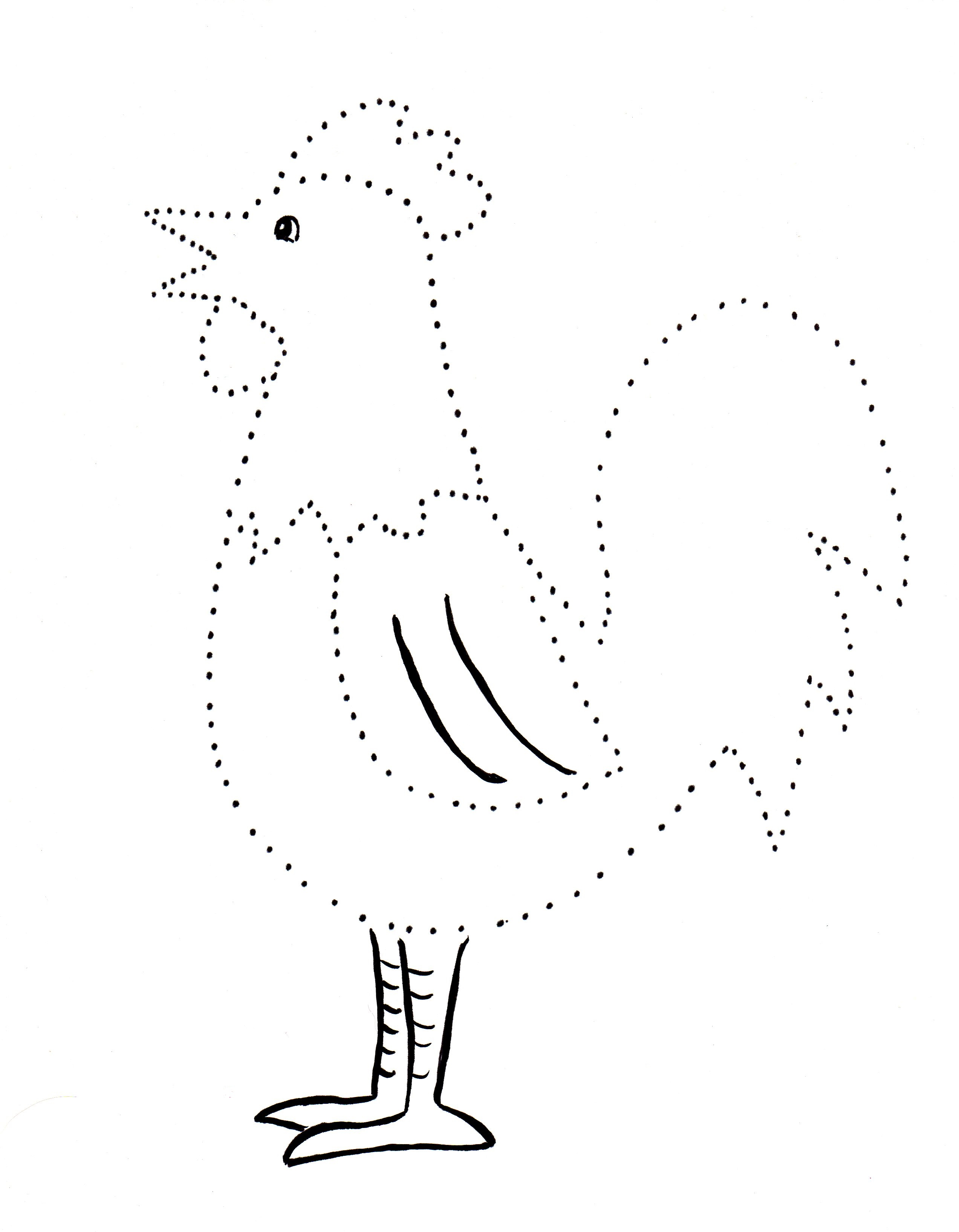 Rooster Dot Drawing