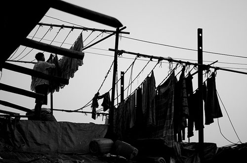Clothes dries at Dhobi Ghaat