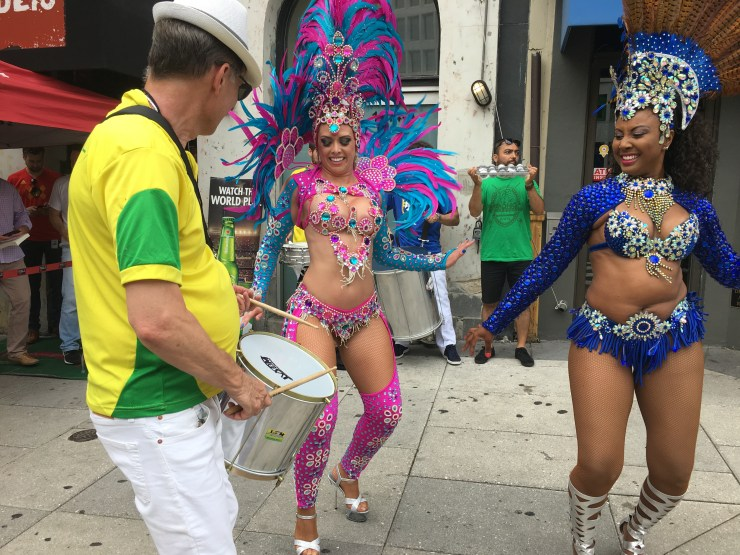 Dancing outside of Public Bar before the game