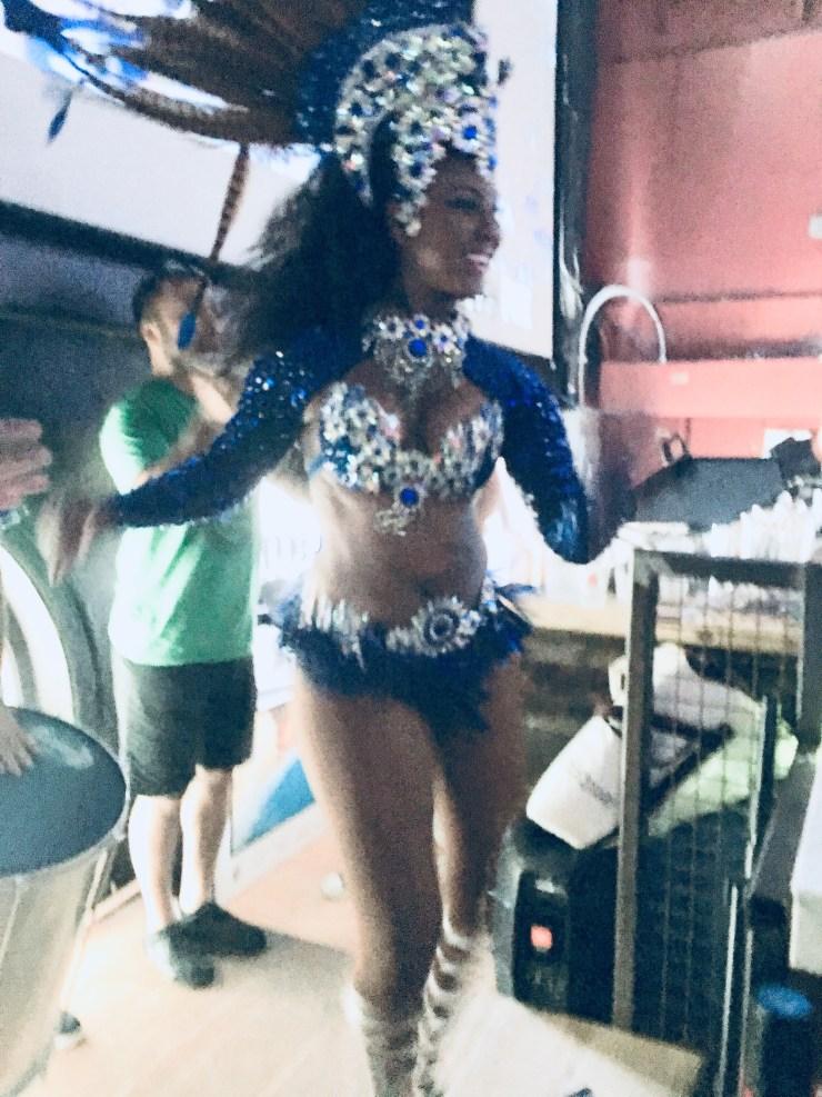 Andressa Telles dancing during the interval of the Brazil v. Belgium game