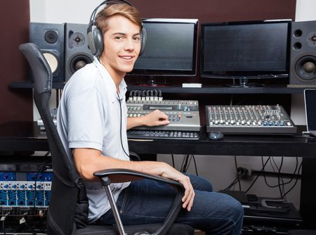 guy at mixing desk