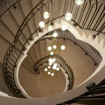 Lights through spiral staircase