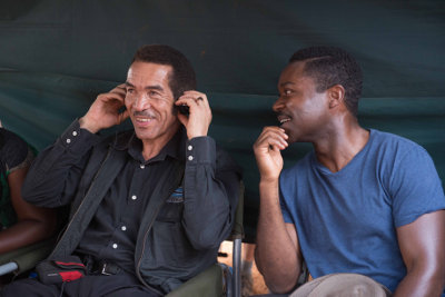 President Ian Khama on set of A UNITED KINGDOM with David Oyelowo who plays Seretse Khama.