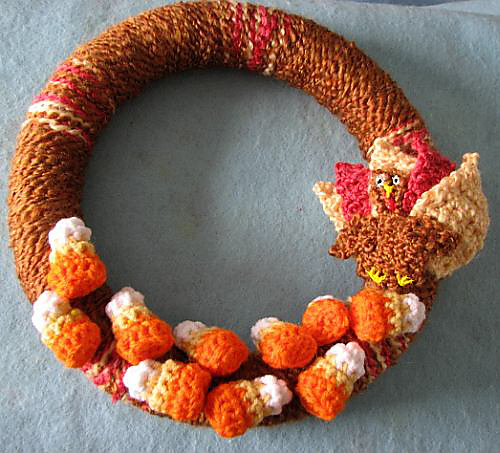 fall wreath with turkey