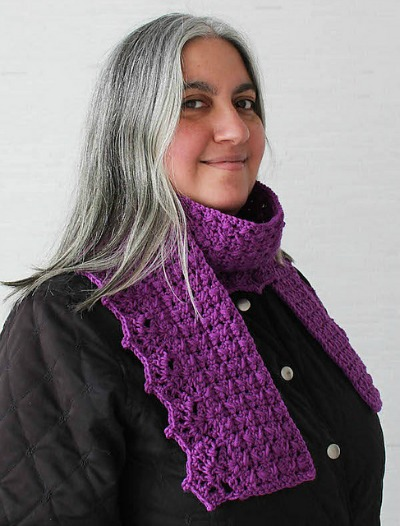 Herringbone Scarf with Lace Shells
