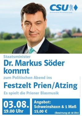 StM Dr. Markus Soeder spricht im Festzelt Prien - Atzing