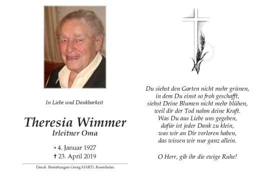 Sterbebild Theresia Wimmer