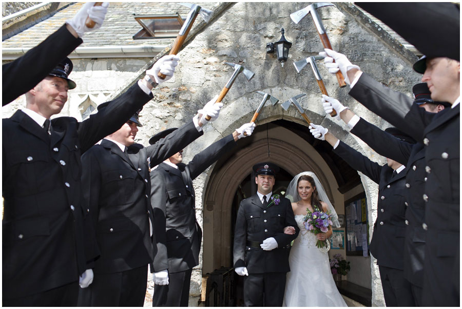 River Cottage Wedding Photography guard of honour firemen